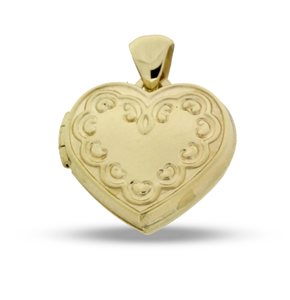 9ct Yellow Gold Engraved Heart Locket Pendant
