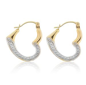 9ct Yellow Gold  Ladies' Open Heart Hoop Earrings