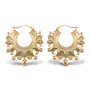 9ct Yellow Gold  Ladies'  Round Creole Spike Earrings