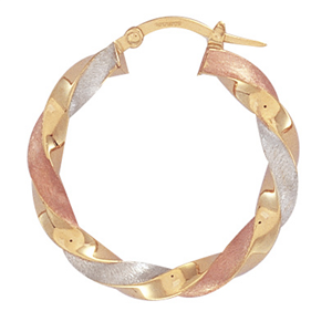 9ct Three Colour Gold Satin Twist Hoop Earrings