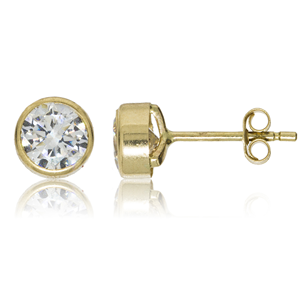 9ct Yellow Gold 4mm CZ Rubover Studs