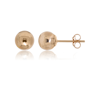 9ct Rose Gold 6mm Plain Ball Stud Earrings