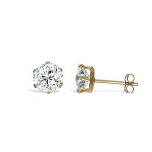 9ct Gold 6mm Studs CZ Earrings