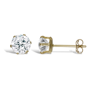 9ct Gold 5mm Studs CZ Earrings