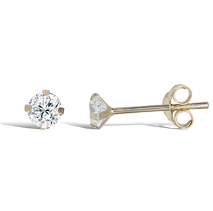 9ct Gold 3mm Studs CZ Earrings