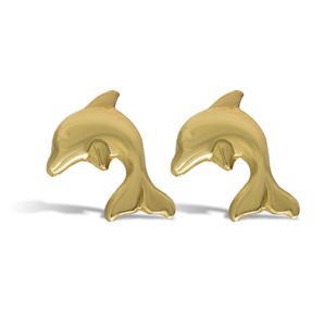9ct Gold Stud Kids Dolphin Earrings