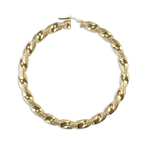 9ct Yellow Gold 60mm Large Twist Hoop Earrings