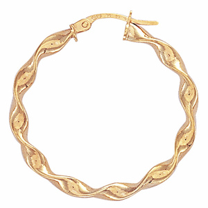 9ct Yellow Gold 25mm Candy Twist Hoop Earrings
