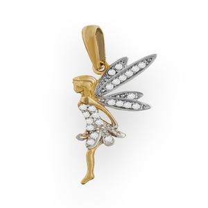 9ct Yellow Gold Fairy Pendant With CZ Dress and Wings