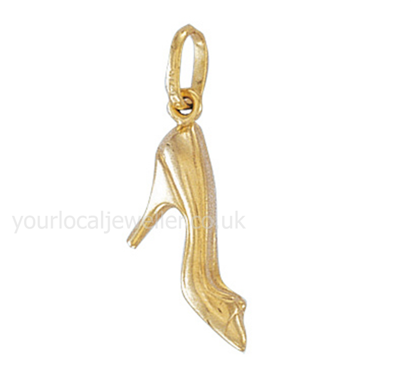 9ct Yellow Gold High Heel Shoe Hollow Charm Pendant