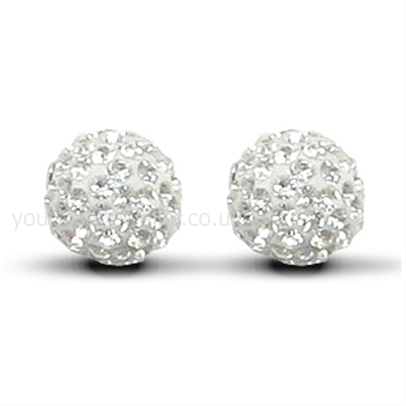 9ct Yellow Gold 8mm White Crystal Stud Earrings
