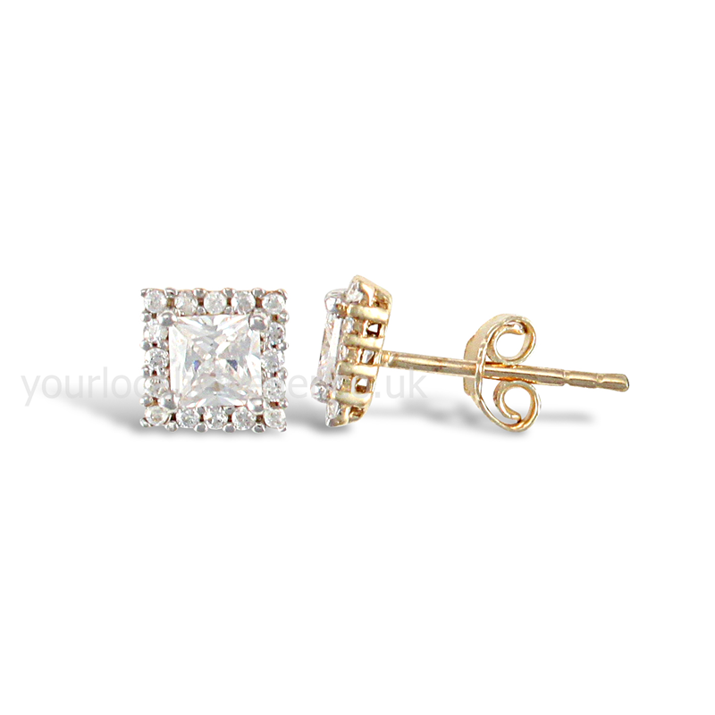 9ct Yellow Gold CZ Square Stud Earrings