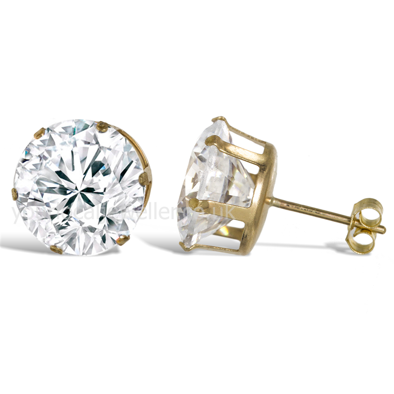 9ct Gold 10mm Studs CZ Earrings