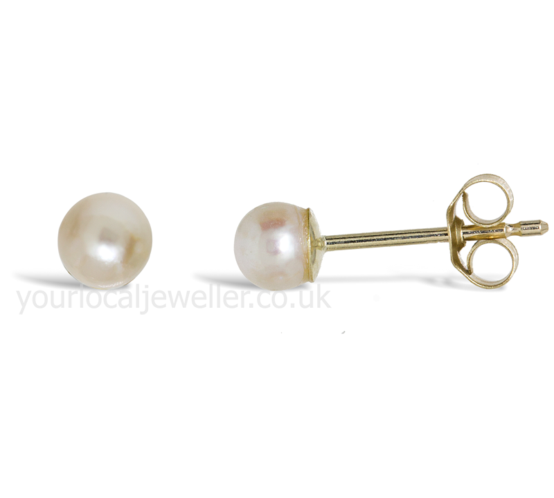 9ct Gold 3mm Cultured Pearl Stud Earrings