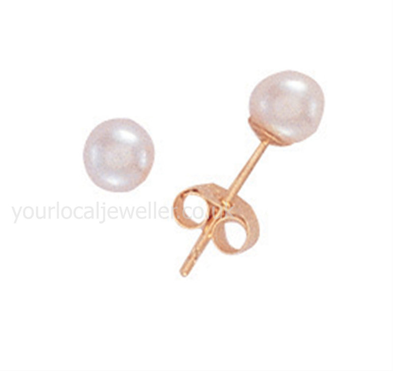 9ct Gold 4mm Cultured Pearl Stud Earrings