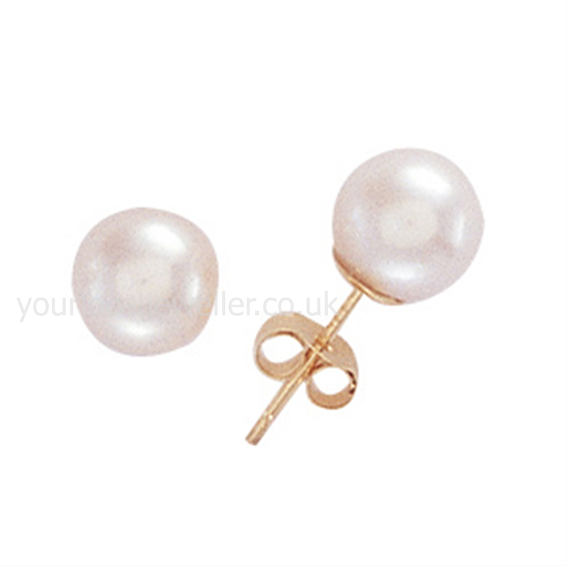 9ct Gold 6mm Cultured Pearl Stud Earrings