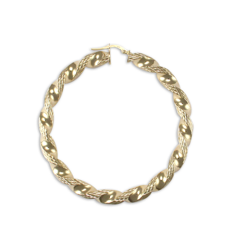9ct Yellow Gold 50mm Large Twist Hoop Earrings