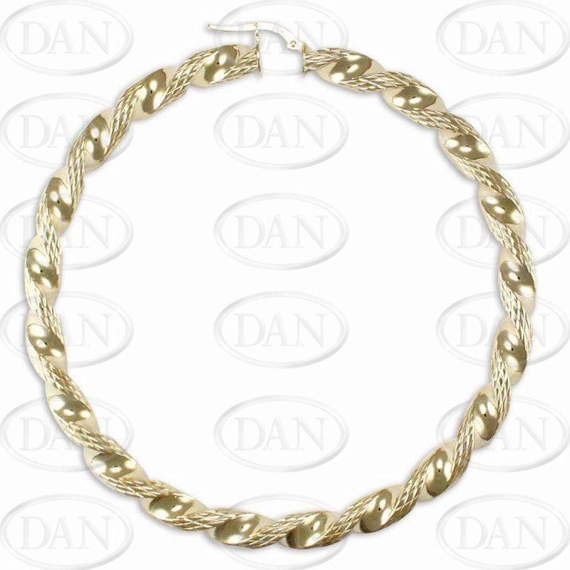 9ct Yellow Gold 70mm Large Twist Hoop Earrings
