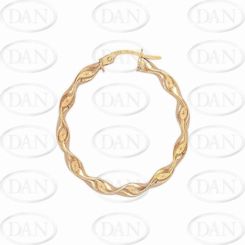 9ct Yellow Gold 25mm Candy Twist Hoop Earrings