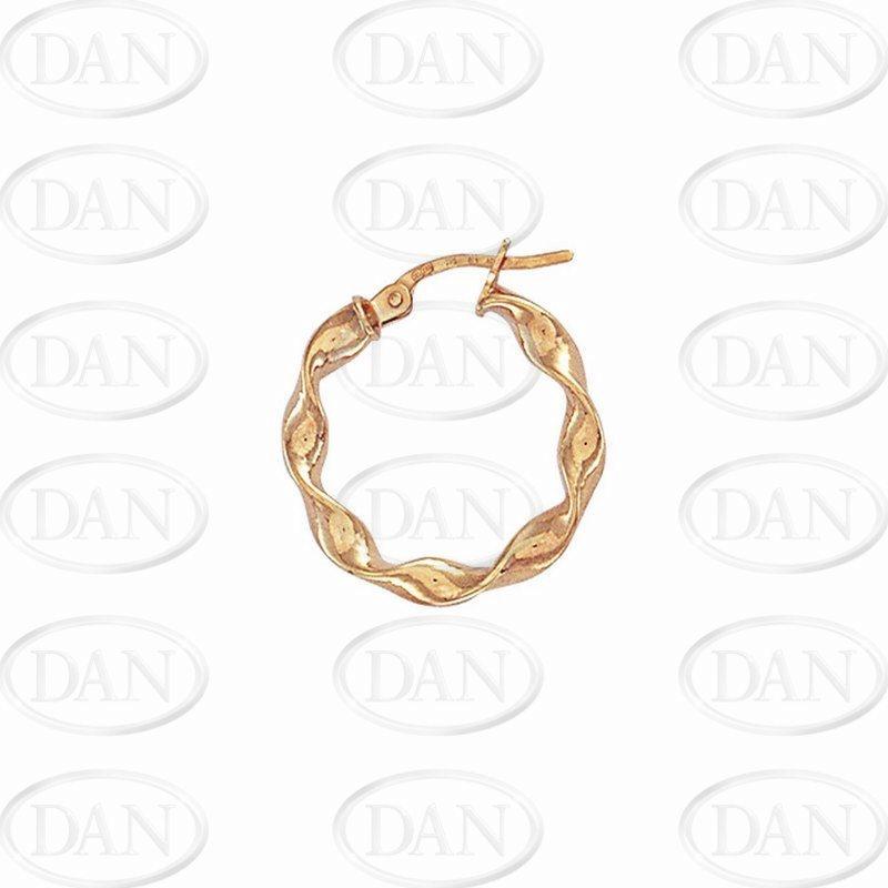 9ct Yellow Gold 15mm Candy Twist Hoop Earrings