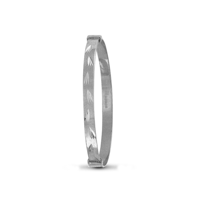 Silver Diamond Cut Baby Expandable Bangle